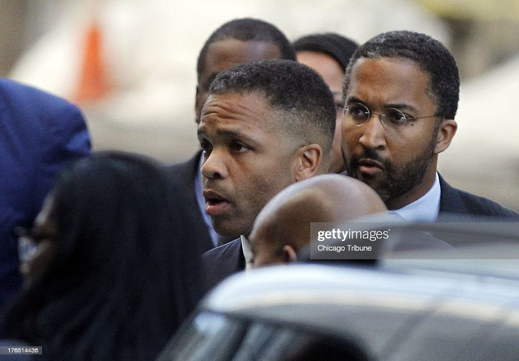 Jesse Jackson Jr. arrives at the federal courhouse in Washington, DC, for a sentencing hearing on Wednesday, August 14, 2013.