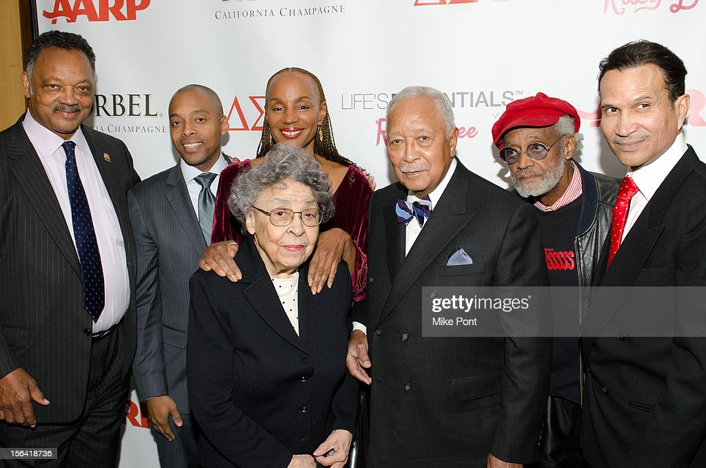 Jesse Jackson, Khalil Gibran, <a gi-track='captionPersonalityLinkClicked' href=/galleries/search?phrase=Susan+L.+Taylor&family=editorial&specificpeople=868414 ng-click='$event.stopPropagation()'>Susan L. Taylor</a>, Joyce Dinkins (Front) <a gi-track='captionPersonalityLinkClicked' href=/galleries/search?phrase=David+Dinkins&family=editorial&specificpeople=171317 ng-click='$event.stopPropagation()'>David Dinkins</a>, Melvin Van Peeples and Khephra Burns attend the 'Life's Essentials With Ruby Dee' screening at The Schomburg Center for Research in Black Culture on November 14, 2012 in New York City.