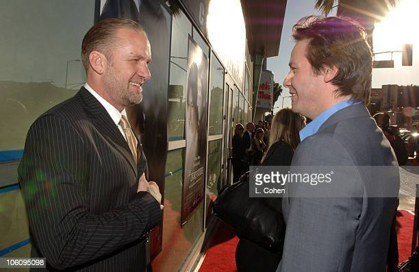 Jesse James and Keanu Reeves during 'The Lake House' Premiere Red Carpet at Cineramadome in Los Angeles California United States