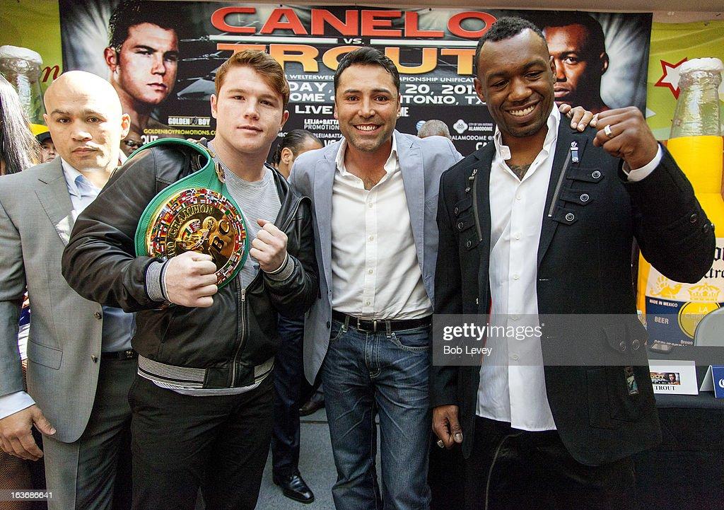<a gi-track='captionPersonalityLinkClicked' href=/galleries/search?phrase=Jesse+James+Leija&family=editorial&specificpeople=194957 ng-click='$event.stopPropagation()'>Jesse James Leija</a>, Canelo Alvarez, <a gi-track='captionPersonalityLinkClicked' href=/galleries/search?phrase=Oscar+De+La+Hoya&family=editorial&specificpeople=171753 ng-click='$event.stopPropagation()'>Oscar De La Hoya</a> and Austin 'No Doubt' Trout promote their upcoming fight to unify the 154-pound super welterweight division on April 20, 2013 in San Antonio during a press conference on March 14, 2013 in Houston, Texas.