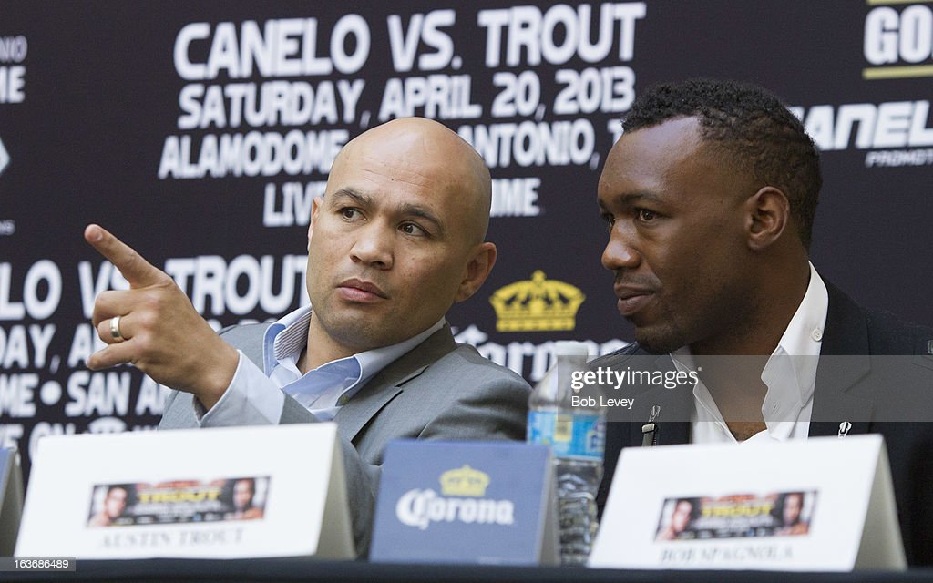 Jesse James Leija (L) talks with Austin 'No Doubt' Trout during a press conference on March 14, 2013 in Houston, Texas.