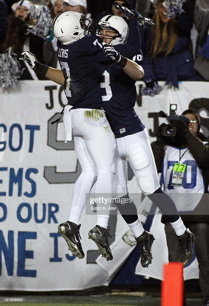 Jesse James #18 of the Penn State Nittany Lions celebrates after scoring on a 46 yard pass against the Nebraska Cornhuskers during the game on November 23, 2013 at Beaver Stadium in State College, Pennsylvania.