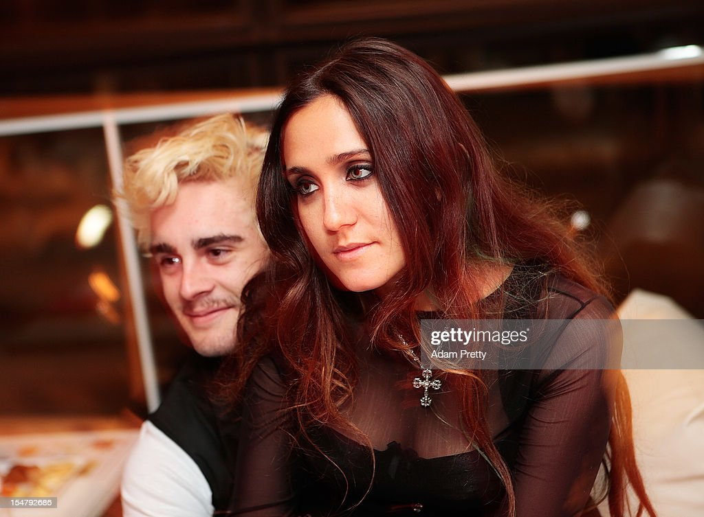 Jesse Jo Stark and Matt DiGiacomo pose for a photograph during the ELLEgirl Night in association with Chrome Hearts at Fiat Caffe on October 26, 2012 in Tokyo, Japan.