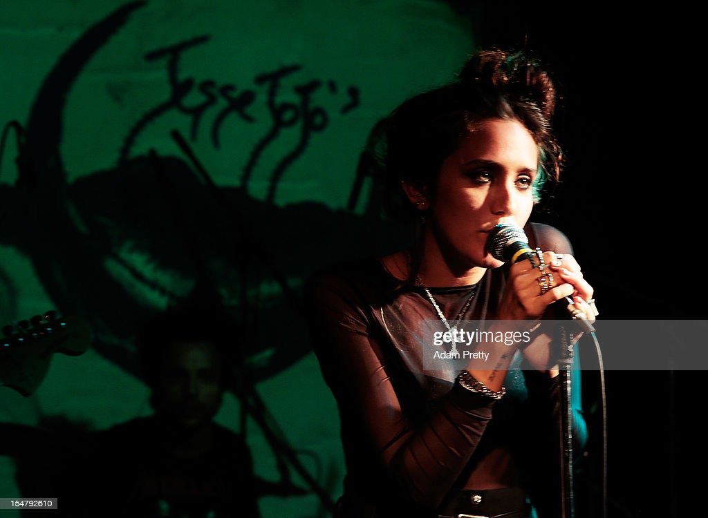Jesse Jo Stark performs during the ELLEgirl Night in association with Chrome Hearts at Fiat Caffe on October 26, 2012 in Tokyo, Japan.