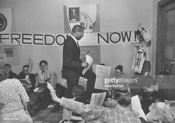MAR 9 1965 3111965 Jesse Johnson Jr state president of the National Association for the Advancement of Colored People joins the sitin protest at the...