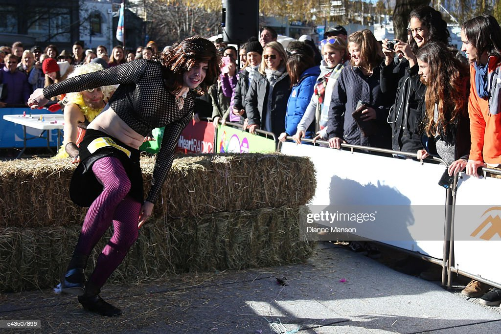 Jesse Johnston competes in the Downtown Day Drag race at the Queenstown Winter Festival on June 29, 2016 in Queenstown, New Zealand.
