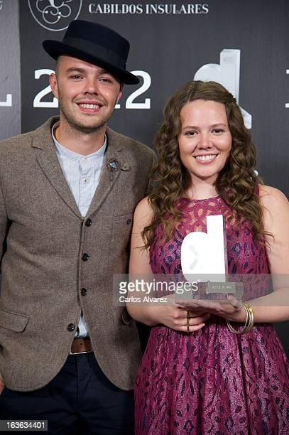 Jesse Joy hold their 'Cadena Dial' award during the Cadena Dial awards 2013 at the Adan Martin auditorium on March 13 2013 in Tenerife Spain