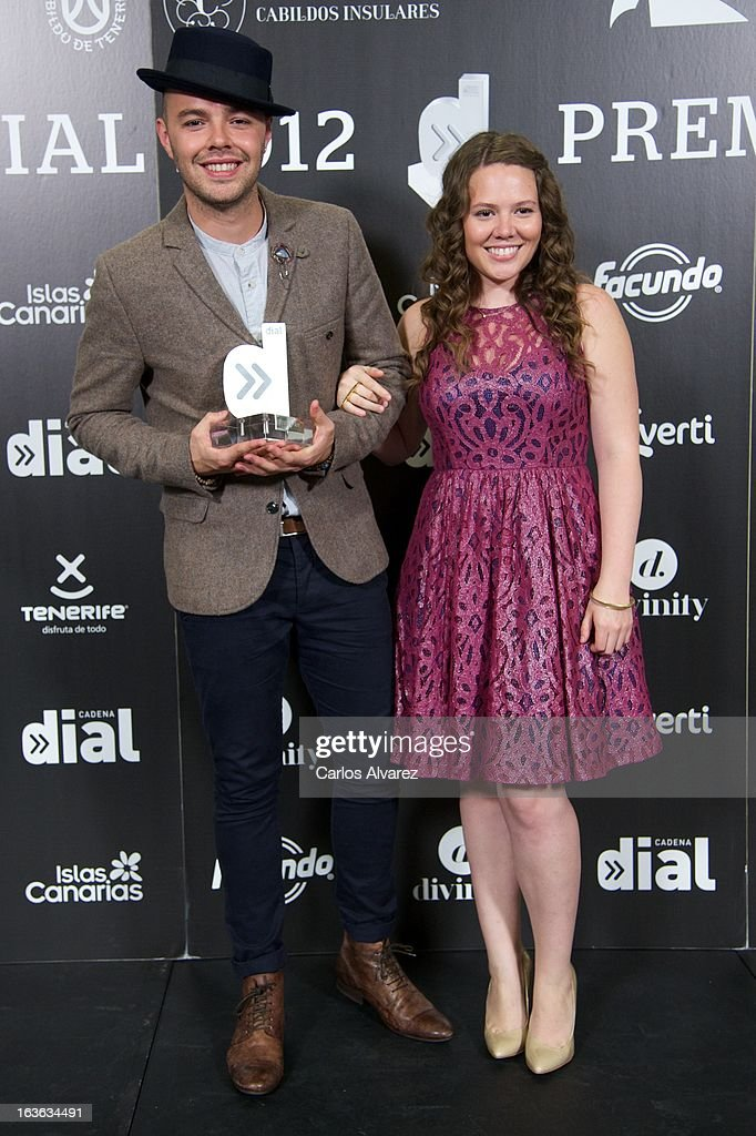 Jesse & Joy hold their 'Cadena Dial' award during the Cadena Dial awards 2013 at the Adan Martin auditorium on March 13, 2013 in Tenerife, Spain.