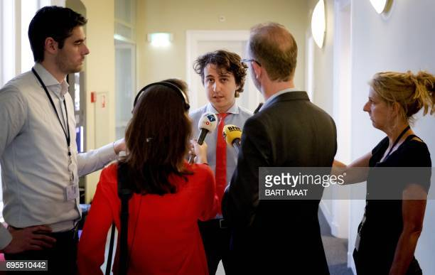 Jesse Klaver leader of the Green Left Party speaks to the press the day after negotiations on the formation of a new cabinet between relevant...