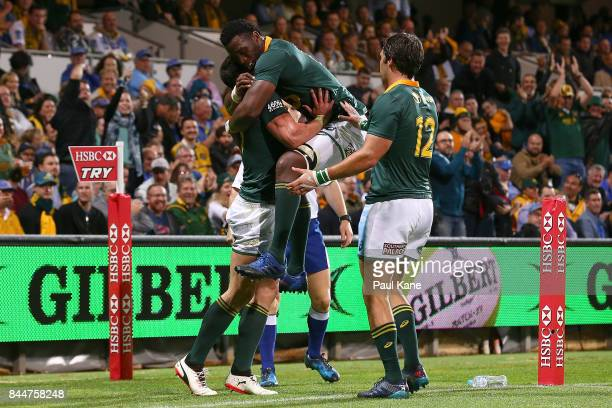 Jesse Kriel and Siya Kolisi of South Africa celebrate a try during The Rugby Championship match between the Australian Wallabies and the South Africa...