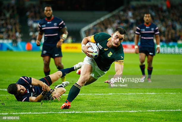 Jesse Kriel of South Africa goes over to score their ninth try during the 2015 Rugby World Cup Pool B match between South Africa and USA at the...