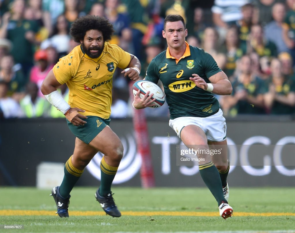 Jesse Kriel of the Springboks during the Rugby Championship 2017 match between South Africa and Australia at Toyota Stadium on September 30, 2017 in Bloemfontein, South Africa.