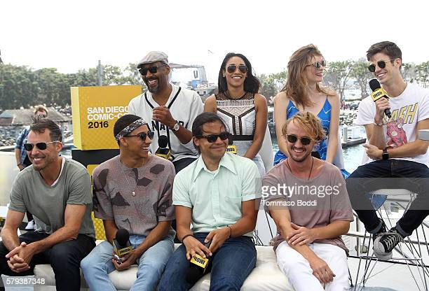 Jesse L Martin Candice PattonDanielle Panabaker Grant Gustin Tom Cavanagh Keiynan Lonsdale Carlos Valdes and Tom Felton of The Flash attend the IMDb...