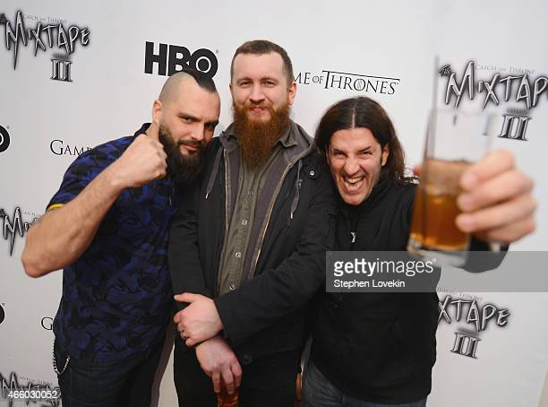 Jesse Leach Joel Stroetzel of Killswitch and Frank Bello of Anthrax attends the HBO Catch The Throne The Mixtape Vol II Listening Party on March 12...