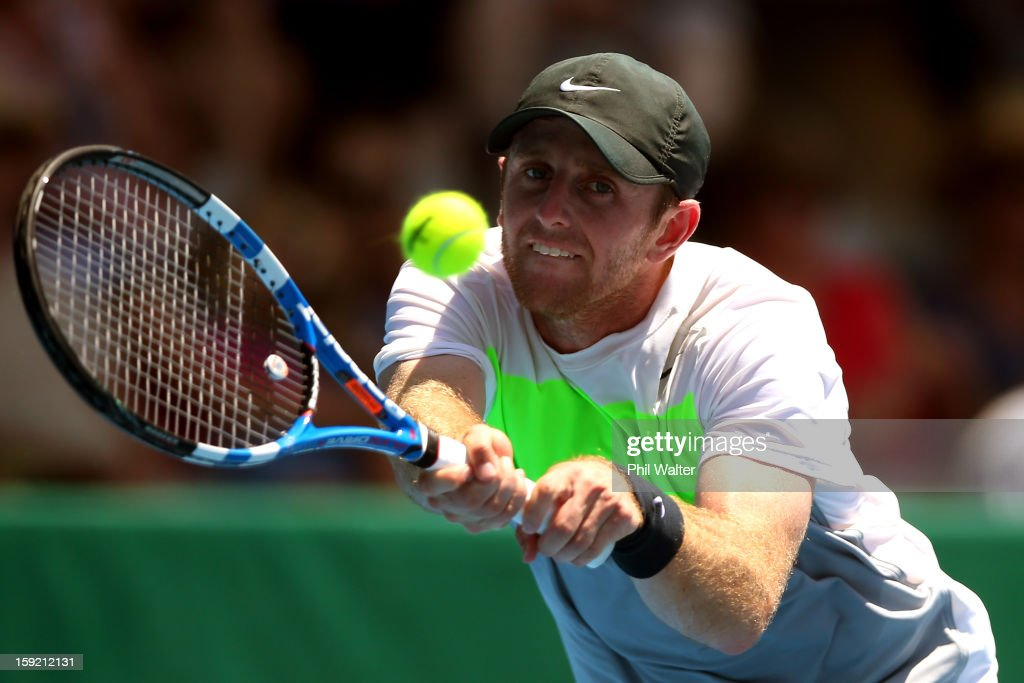 <a gi-track='captionPersonalityLinkClicked' href=/galleries/search?phrase=Jesse+Levine&family=editorial&specificpeople=2326133 ng-click='$event.stopPropagation()'>Jesse Levine</a> of Canada plays a backhand in his quarterfinal match against Sam Querrey of the USA during day four of the Heineken Open at the ASB Tennis Centre on January 10, 2013 in Auckland, New Zealand.