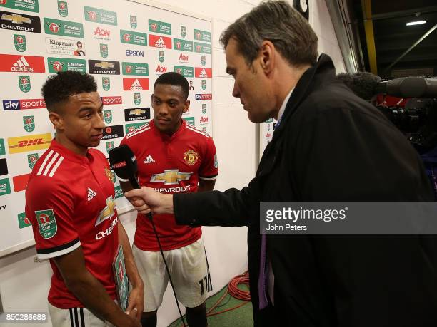 Jesse Lingard and Anthony Martial of Manchester United are interviewed after the Carabao Cup Third Round match between Manchester United and Burton...