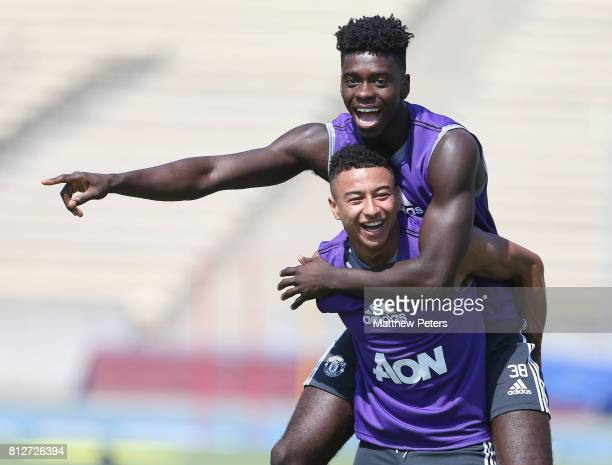 Jesse Lingard and Axel Tuanzebe of Manchester United in action during a first team training session as part of the club's preseason tour of the USA...