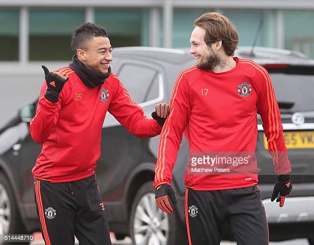 Jesse Lingard and Daley Blind of Manchester United in action during a first team training session ahead of their UEFA Europa League round of 16 match...