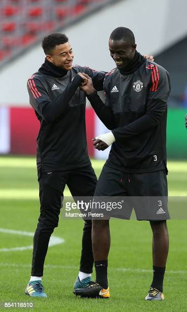 Jesse Lingard and Eric Bailly of Manchester United in action during a training session ahead of their UEFA Champions League match against CSKA Moscow...
