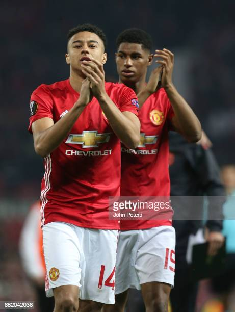 Jesse Lingard and Marcus Rashford of Manchester United celebrate after the UEFA Europa League semi final second leg match between Manchester United...
