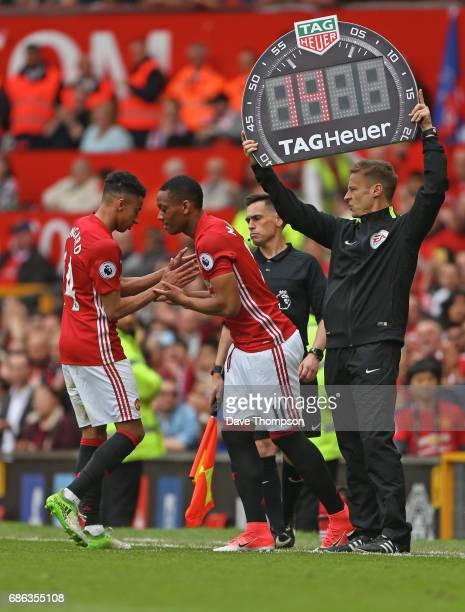 Jesse Lingard comes off for Anthony Martial of Manchester United during the Premier League match between Manchester United and Crystal Palace at Old...