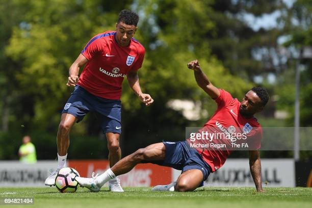 Jesse Lingard in action with Jermain Defoe during the England training session at Stade Omnisports on June 11 2017 in Paris France