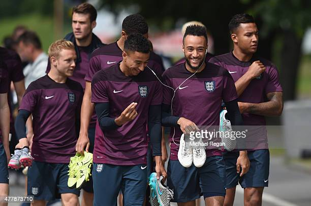 Jesse Lingard looks on with Nathan Redmond as the squad walk to the England U21 training session and press conference on June 20 2015 in Olomouc...