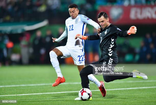 Jesse Lingard of England and Ernestas Setkus of Lithuania during the FIFA 2018 World Cup Qualifier between Lithuania and England on October 8 2017 in...