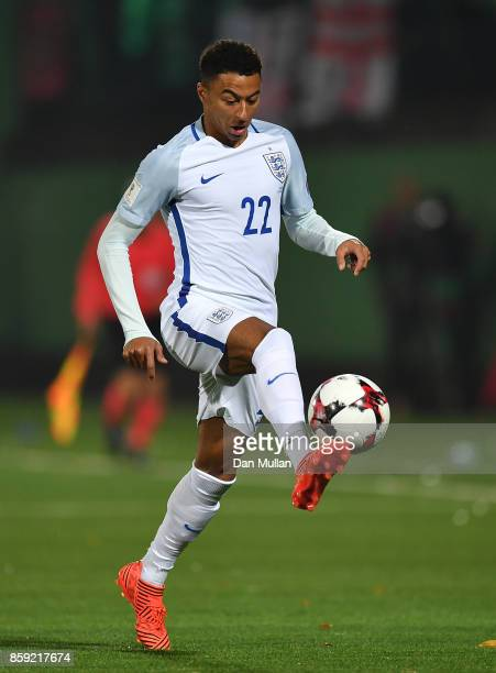 Jesse Lingard of England controls the ball during the FIFA 2018 World Cup Group F Qualifier between Lithuania and England at LFF Stadium on October 8...