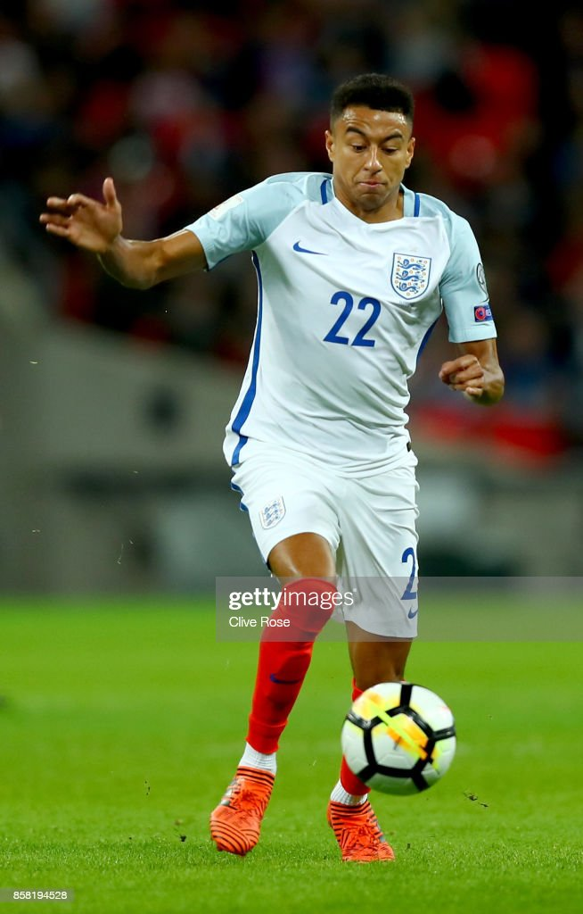 Jesse Lingard of England during the FIFA 2018 World Cup Group F Qualifier between England and Slovenia at Wembley Stadium on October 5, 2017 in London, England