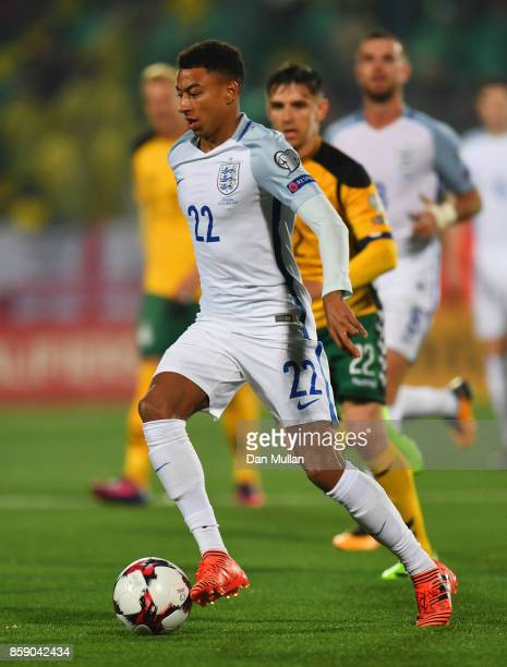 Jesse Lingard of England in action during the FIFA 2018 World Cup Group F Qualifier between Lithuania and England at LFF Stadium on October 8 2017 in...
