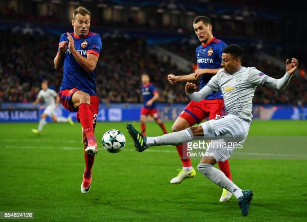 Jesse Lingard of Manchester United and Mario Fernandes of CSKA Moscow in action during the UEFA Champions League group A match between CSKA Moskva...