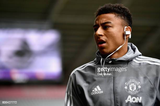 Jesse Lingard of Manchester United arrives at the stadium prior to the Premier League match between Swansea City and Manchester United at Liberty...