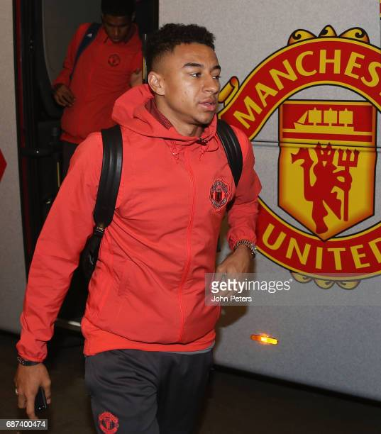 Jesse Lingard of Manchester United arrives for a walk on the pitch ahead of the UEFA Europa League Final at Friends Arena on May 23 2017 in Stockholm...