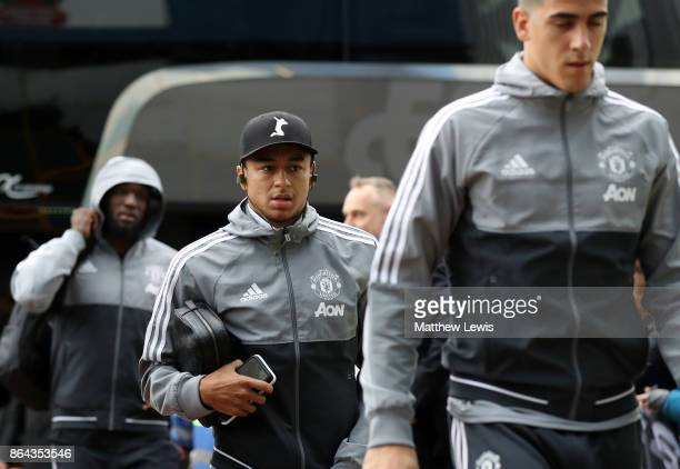 Jesse Lingard of Manchester United arrives for the Premier League match between Huddersfield Town and Manchester United at John Smith's Stadium on...