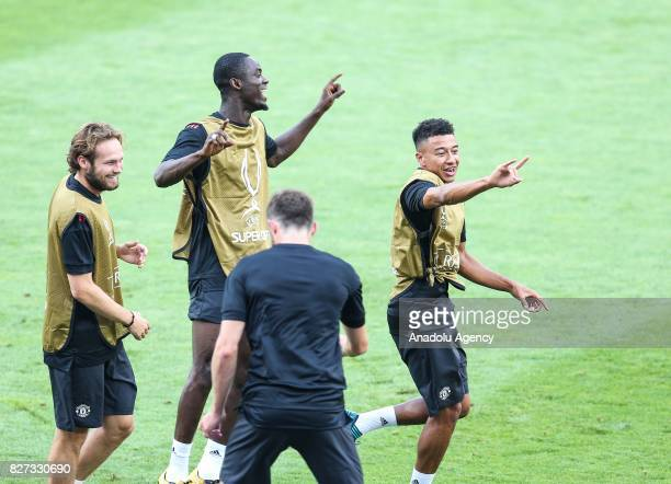 Jesse Lingard of Manchester United attends the last training ahead of the UEFA Super Cup Final match between Manchester United and Real Madrid at the...
