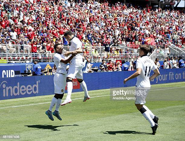 Jesse Lingard of Manchester United celebrates after scoring a goal during the 2015 International Champions Cup match between FC Barcelona and...