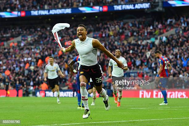 Jesse Lingard of Manchester United celebrates as he scores their second goal during The Emirates FA Cup Final match between Manchester United and...