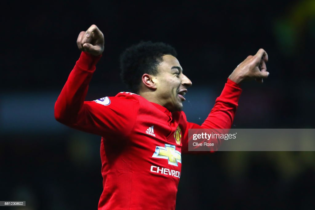 Jesse Lingard of Manchester United celebrates as he scores their fourth goal during the Premier League match between Watford and Manchester United at Vicarage Road on November 28, 2017 in Watford, England.