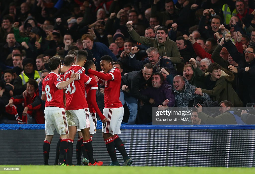 Jesse Lingard of Manchester United celebrates by the fans after he scores to make it 0-1 during the Barclays Premier League match between Chelsea and Manchester United at Stamford Bridge on February 7, 2016 in London, England.