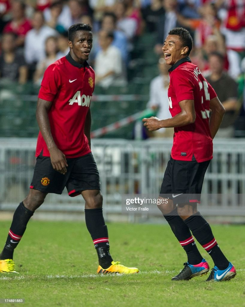 Jesse Lingard (R) of Manchester United celebrates his goal during the international friendly match between Kitchee FC and Manchester United at Hong Kong Stadium on July 29, 2013 in So Kon Po, Hong Kong.