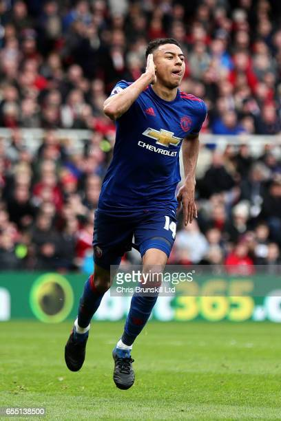 Jesse Lingard of Manchester United celebrates scoring his side's second goal during the Premier League match between Middlesbrough and Manchester...