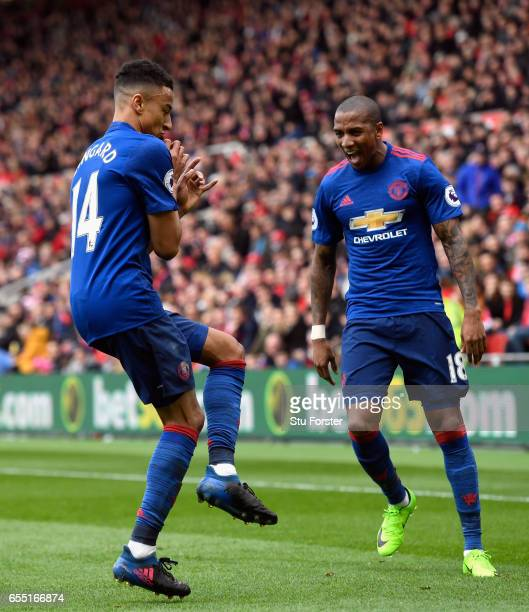 Jesse Lingard of Manchester United celebrates scoring his sides second goal with Ashley Young of Manchester United during the Premier League match...