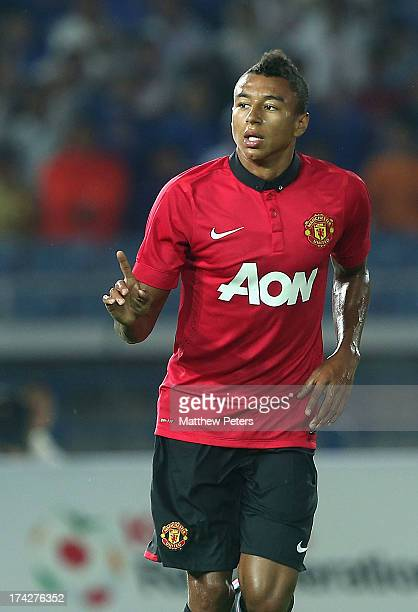 Jesse Lingard of Manchester United celebrates scoring their first goal during the preseason friendly match between Yokohama FMarinos and Manchester...