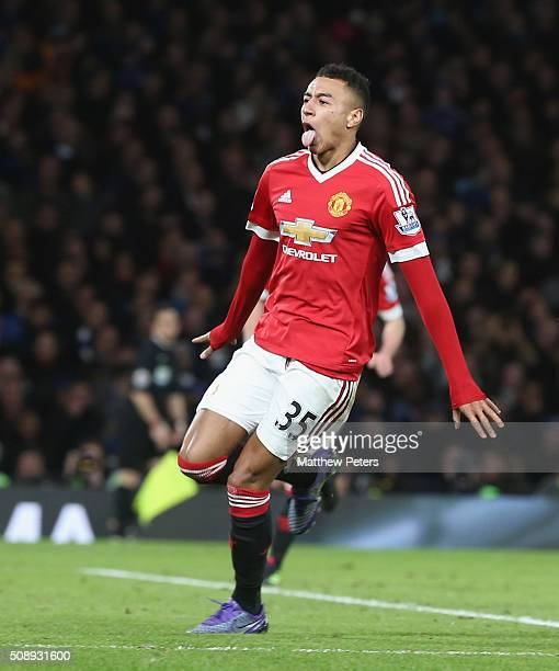 Jesse Lingard of Manchester United celebrates scoring their first goal during the Barclays Premier League match between Chelsea and Manchester United...