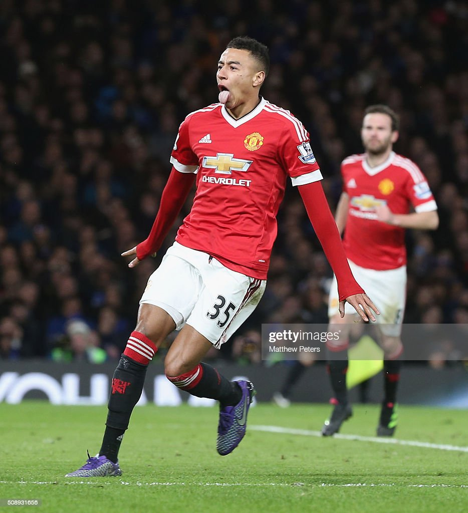 <a gi-track='captionPersonalityLinkClicked' href=/galleries/search?phrase=Jesse+Lingard&family=editorial&specificpeople=7601596 ng-click='$event.stopPropagation()'>Jesse Lingard</a> of Manchester United celebrates scoring their first goal during the Barclays Premier League match between Chelsea and Manchester United at Stamford Bridge on February 7 2016 in London, England.
