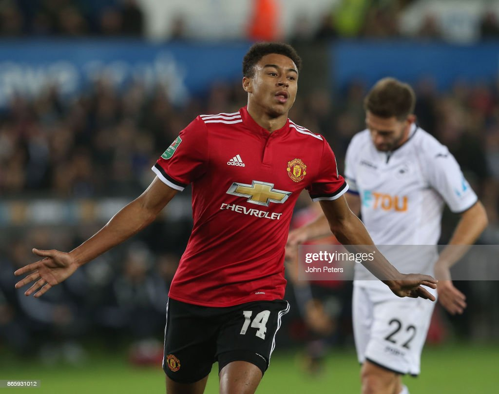Jesse Lingard of Manchester United celebrates scoring their first goal during the Carabao Cup Fourth Round match between Swansea City and Manchester United at Liberty Stadium on October 24, 2017 in Swansea, Wales.