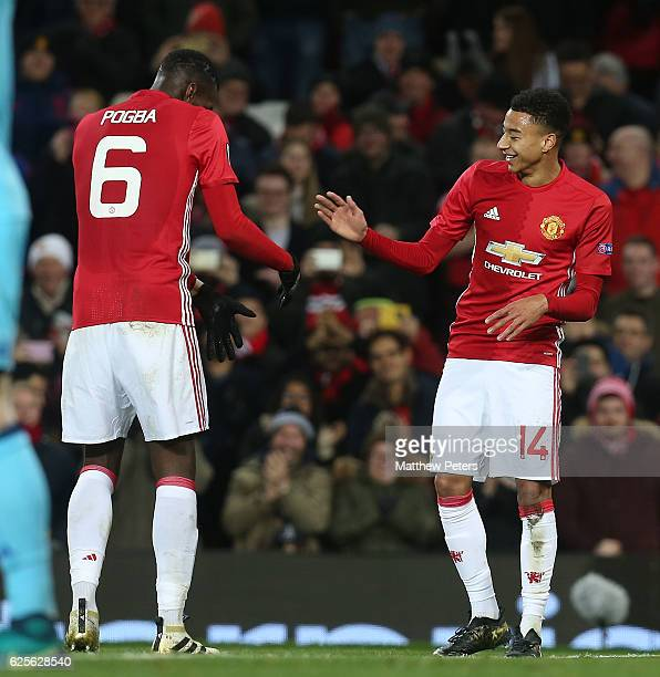 Jesse Lingard of Manchester United celebrates scoring their fourth goal during the UEFA Europa League match between Manchester United FC and...