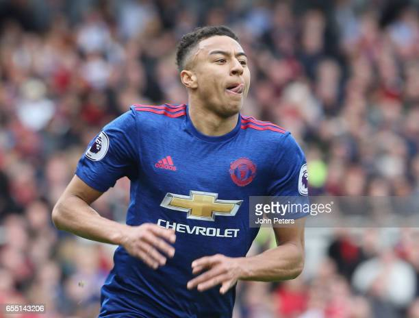 Jesse Lingard of Manchester United celebrates scoring their second goal during the Premier League match between Middlesbrough and Manchester United...