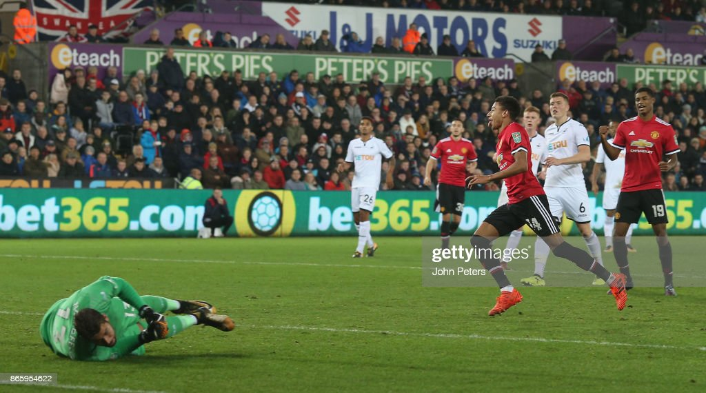 Jesse Lingard of Manchester United celebrates scoring their second goal during the Carabao Cup Fourth Round match between Swansea City and Manchester United at Liberty Stadium on October 24, 2017 in Swansea, Wales.